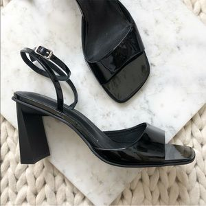Jeffrey Campbell Black Patent Strappy Block Heels